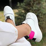 Жіночі кеди HBM Malina 37 розмір, білий з малиновим акцентом, натуральна шкіра, зручна устілка латекс/шкіра, фото 7