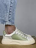 Жіночі кеди HBM Birdy 38 розмір, зелений з молочним, натуральна шкіра, зручна устілка латекс/шкіра, фото 4
