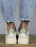 Жіночі кеди HBM Birdy 38 розмір, зелений з молочним, натуральна шкіра, зручна устілка латекс/шкіра, фото 5