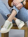 Жіночі кеди HBM Birdy 38 розмір, зелений з молочним, натуральна шкіра, зручна устілка латекс/шкіра, фото 7