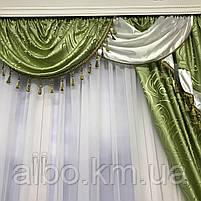 Комплект штор с ламбрекеном для спальни зала кухни, ламбрекен для дома квартиры кухни комнаты, готовый, фото 3
