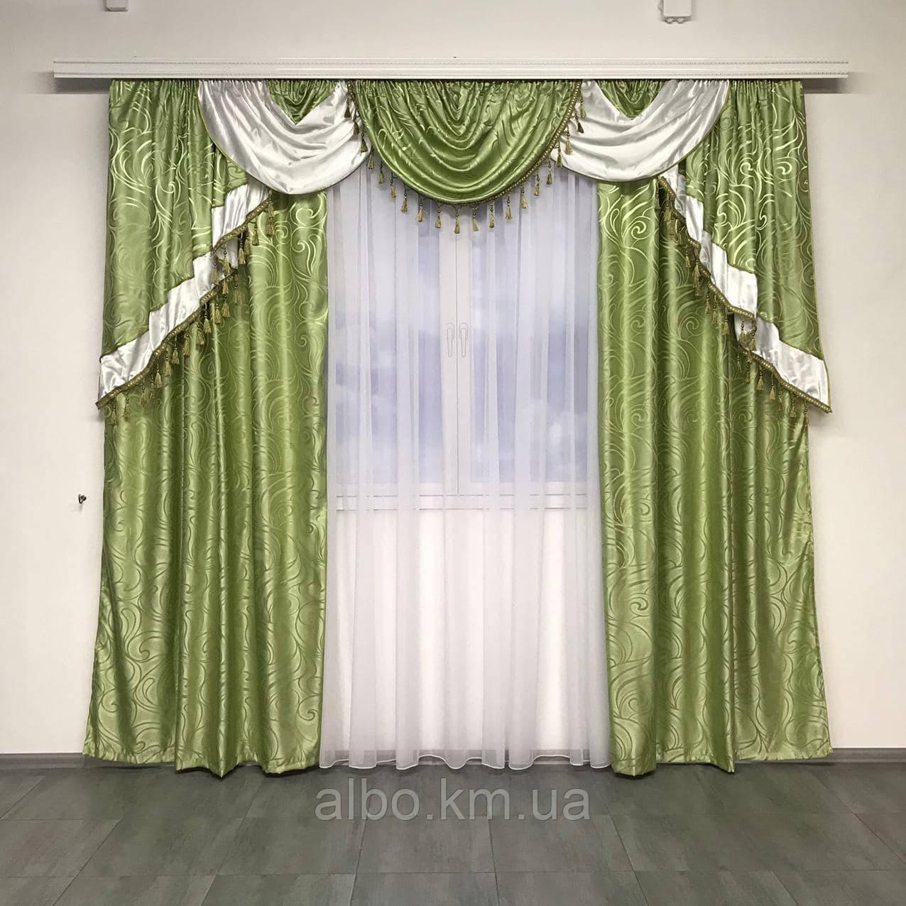 Комплект штор с ламбрекеном для спальни зала кухни, ламбрекен для дома квартиры кухни комнаты, готовый
