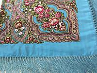 Хустина* етнічна з квітами та українським орнаментом колір блакитний розмір 110*110 см