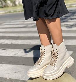 Жіночі черевики високі базові HBM Mac, молочний нюд, натуральна шкіра, всередині шкіра+хутро+байка, 41 розмір