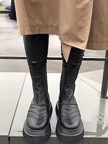 Жіночі черевики високі базові HBM VENETA, чорний, натуральна шкіра, всередині шкіра+хутро+байка, 36 розмір