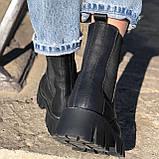 Жіночі черевики високі базові HBM Chelsey, чорний, натуральна шкіра, всередині шкіра+хутро+байка, 39 розмір, фото 3