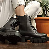 Жіночі черевики високі базові HBM Chelsey, чорний, натуральна шкіра, всередині шкіра+хутро+байка, 39 розмір, фото 4