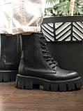 Жіночі черевики високі базові HBM Chelsey, чорний, натуральна шкіра, всередині шкіра+хутро+байка, 39 розмір, фото 5