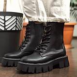 Жіночі черевики високі базові HBM Chelsey, чорний, натуральна шкіра, всередині шкіра+хутро+байка, 39 розмір, фото 6