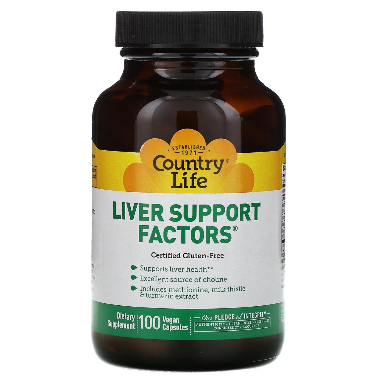 Поддержка печени, Liver Support Factors, Country Life, 100 таблеток