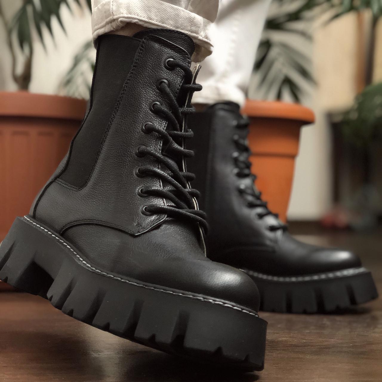 Жіночі черевики високі базові HBM Chelsey, чорний, натуральна шкіра, всередині шкіра+хутро+байка, 40 розмір