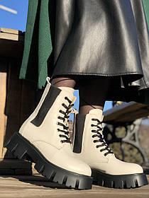 Жіночі черевики високі базові HBM Chelsey, молочний нюд, натуральна шкіра, всередині шкіра+хутро+байка, 36