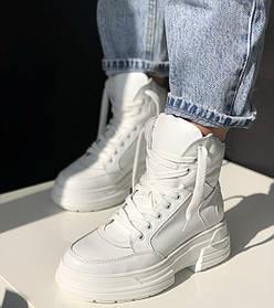 Жіночі черевики високі базові HBM Stella, білий, натуральна шкіра, всередині шкіра+хутро+байка, 38 розмір