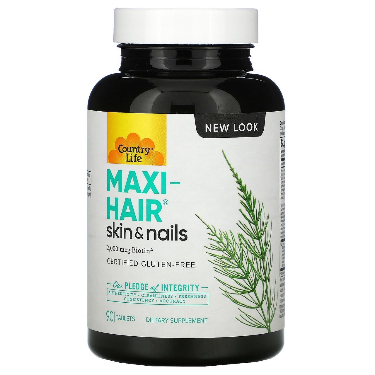 Комплексні вітаміни для росту волосся і зміцнення нігтів Country Life, Gluten Free, Maxi-Hair, 90 таблеток