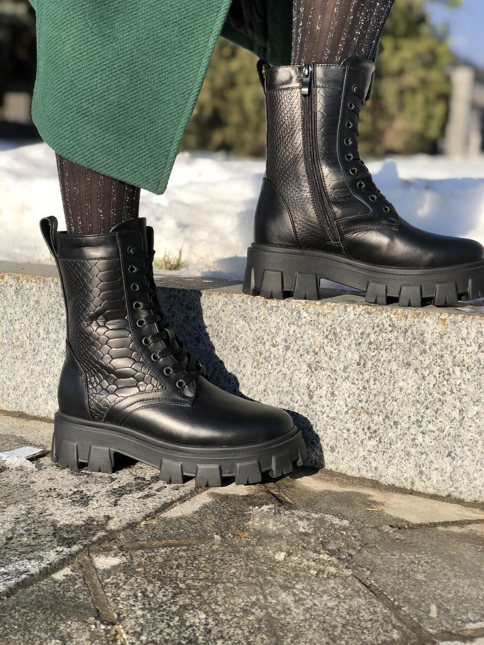 Жіночі черевики високі HBM Prado, чорний, натуральна шкіра, всередині шкіра+хутро+байка, 38 розмір
