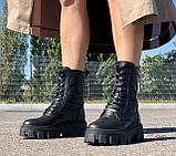 Жіночі черевики високі HBM Prado, чорний, натуральна шкіра, всередині шкіра+хутро+байка, 39 розмір, фото 2