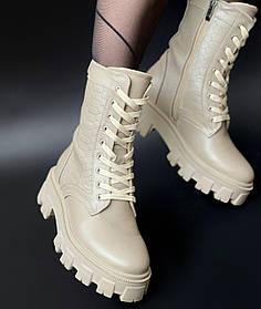 Жіночі черевики високі HBM Prado, бежевий, натуральна шкіра, всередині шкіра+хутро+байка, 37 розмір