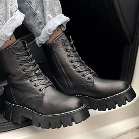 Жіночі черевики високі HBM Martens 021, чорний, натуральна шкіра, всередині шкіра+хутро+байка, 40 розмір