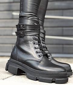 Жіночі черевики високі HBM Martens з ремінцем, чорний, натуральна шкіра, всередині шкіра+хутро+байка, 40