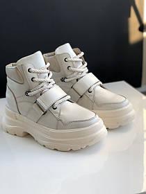 Жіночі черевики, високі кеди HBM Sofia, бежевий, натуральна шкіра, всередині шкіра+хутро+байка, 38 розмір