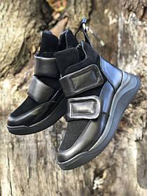 Жіночі черевики, високі кеди HBM Kim, чорний, натуральна шкіра, замша, всередині шкіра+хутро+байка, 36 розмір