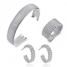 Жіночий комплект біжутерії (кільце, сережки, браслет) Плетена кольчуга покриття срібло 925