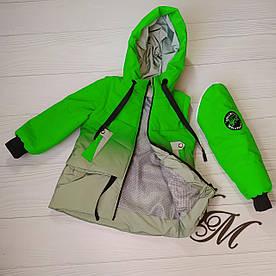 Куртка жилет демисезонная светоотражающая на девочек салатовая 116