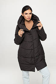 Модная женская чёрная куртка из пуха с высоким воротником, размер от 42 до 54