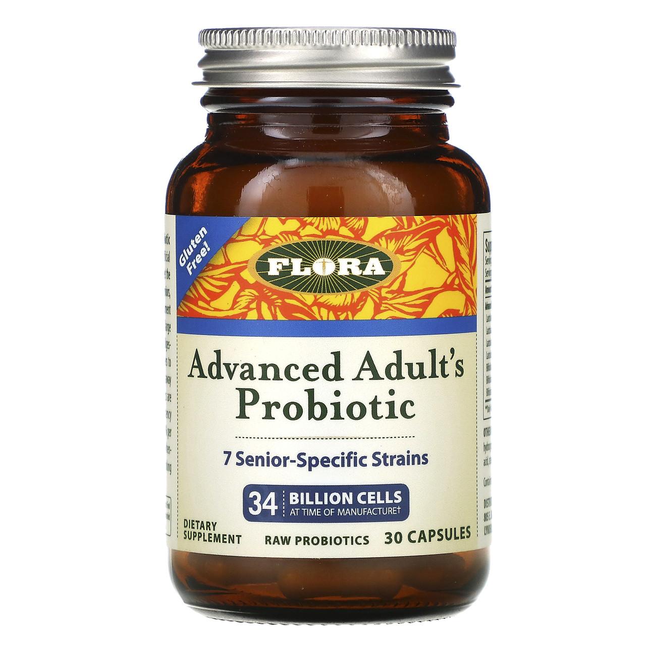 Пробиотики, Flora, для взрослых, Probiotic, 30 капсул