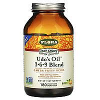 Суміш рослинних олій (udo's Oil 3•6•9 Blend), Flora, 180 гельових капсул