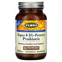 Пробіотики і вітаміни, Super 8 Hi-Potency Probiotic, Flora, 30 капсул