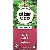 Alter Eco, Органический шоколад, темный с морской солью, 2,82 унции (80 г)