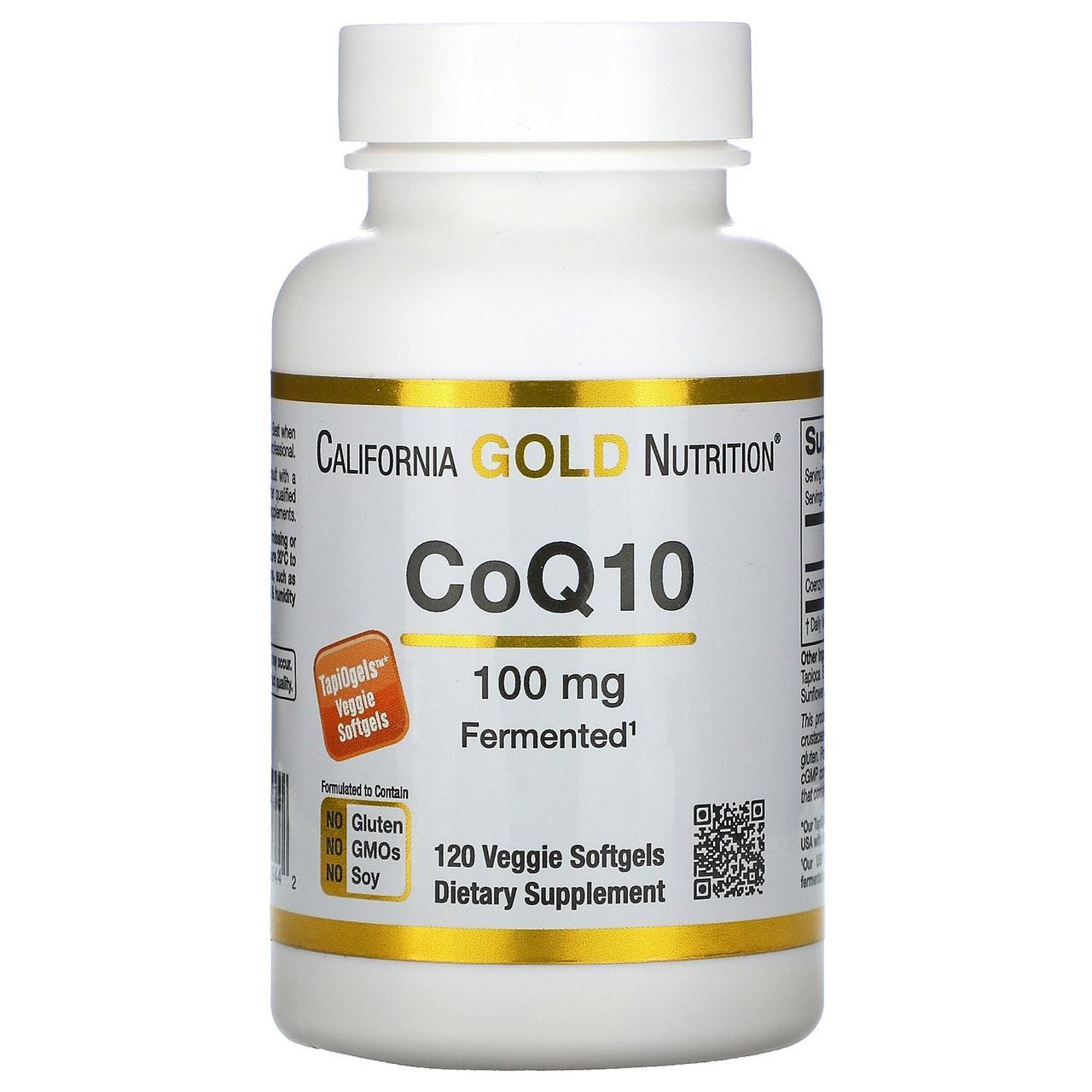 Коэнзим Q10, 100 мг, 120 капсул,California Gold Nutrition, CoQ10, Naturally Fermented