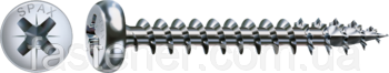 Саморез SPAX с покр. WIROX 3,5х25, полная резьба, полукруг. головкxа, PZ2, 4CUT, упак.1000 шт., пр-во Германия