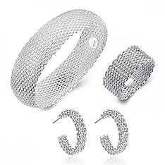 Жіночий комплект біжутерії (кільце, сережки, браслет) Срібна кольчуга покриття срібло 925