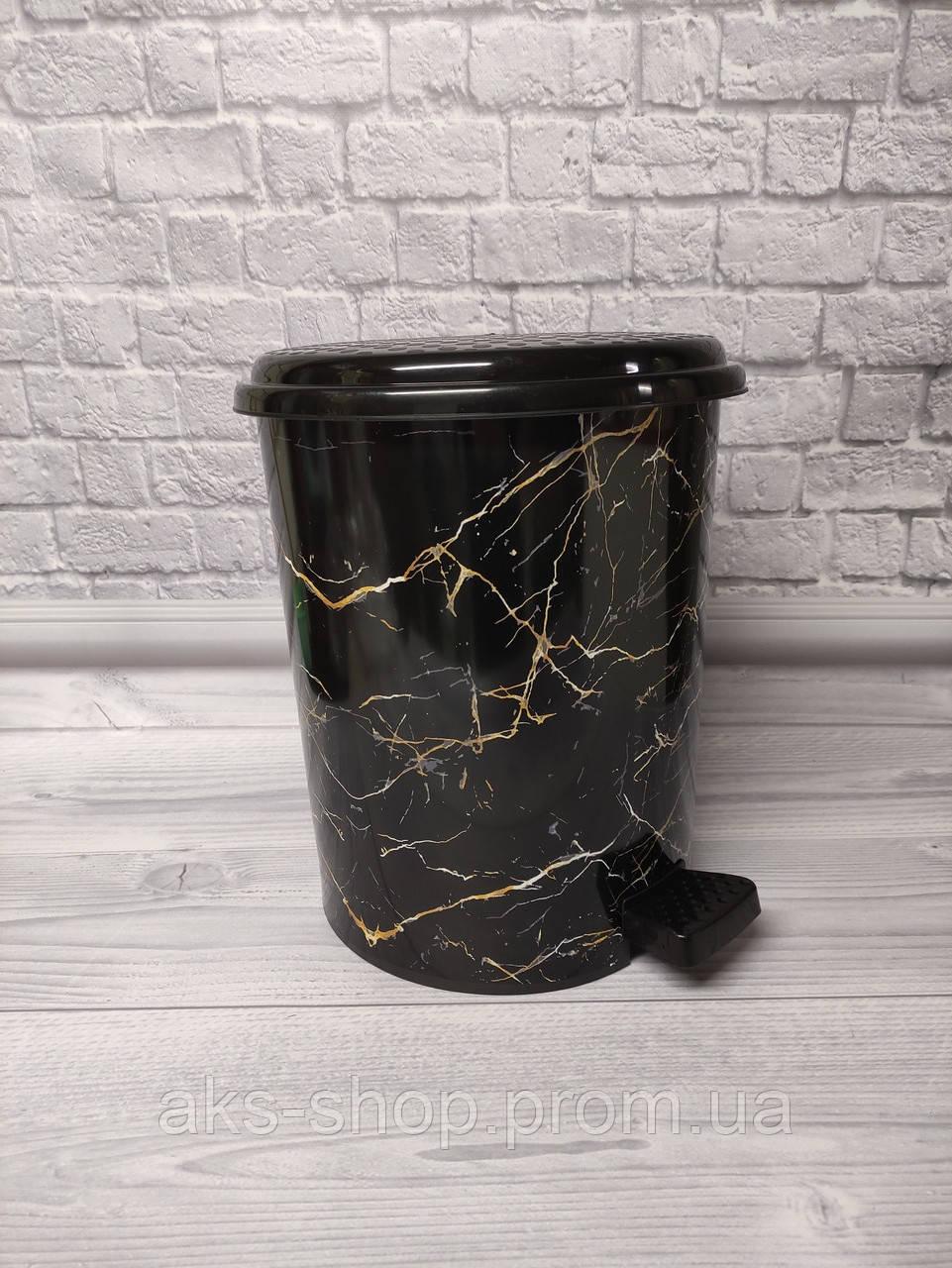 Ведро для мусора с педалью 17л Elif-366 Черный мрамор