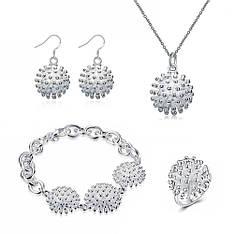 Жіночий комплект біжутерії (кольє, сережки, браслет, кільце) квіти Піони покриття срібло 925