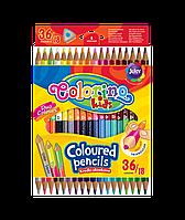 Двосторонні кольорові олівці 36 кольорів 18 олівців трикутна форма, Colorino