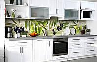 Кухонный фартук 3d Оливки Маслины пленка скинали ПВХ 600х2500мм Ягоды Зелёный