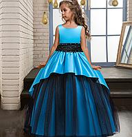 Платье голубое с черным бальное выпускное длинное в пол нарядное для девочки., фото 1