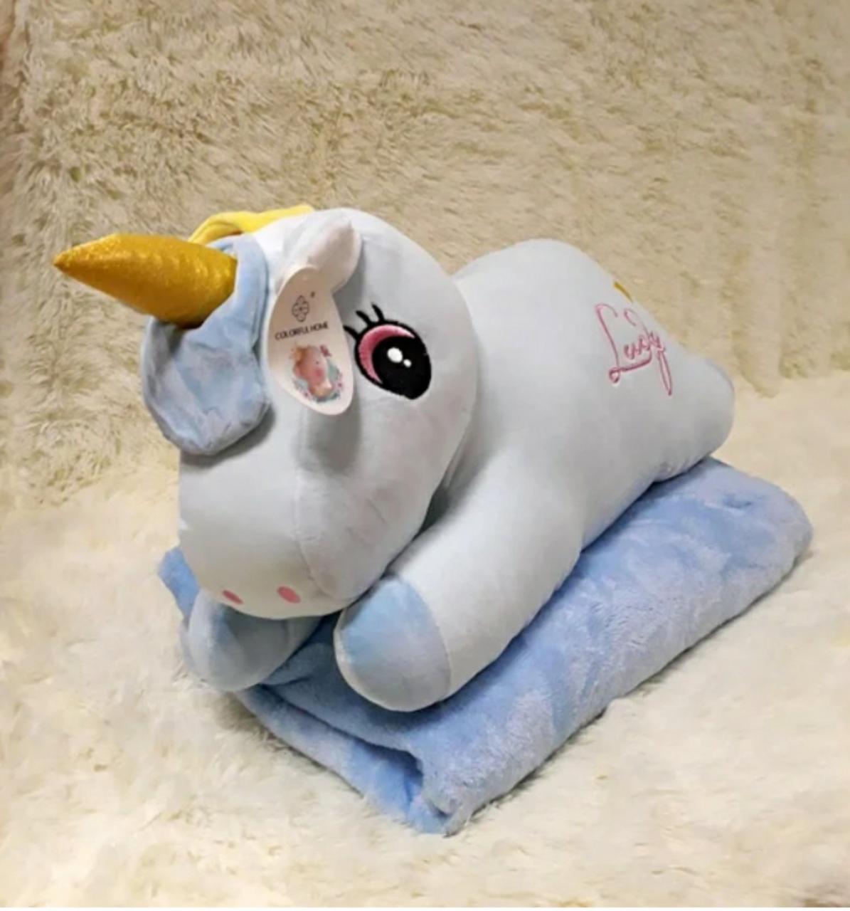 Плед - мягкая игрушка 3 в 1 (Единорог голубой)