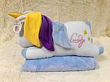 Плед - мягкая игрушка 3 в 1 (Единорог голубой), фото 3