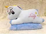 Плед - мягкая игрушка 3 в 1 (Единорог голубой), фото 2