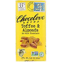 Тоффи и миндаль в молочном шоколаде, Toffee & Almonds, Chocolove, 90 г