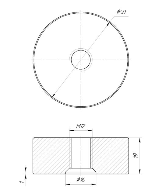 ODF-06-36-01-L20 Дистанция 20 мм для коннектора диаметром 50 мм и с резьбой М12, сатин