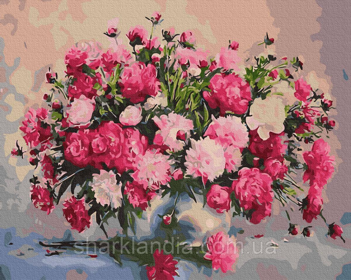Картина за номерами Букет садових квітів 40х50см RainbowArt Квіти Букет Півонії