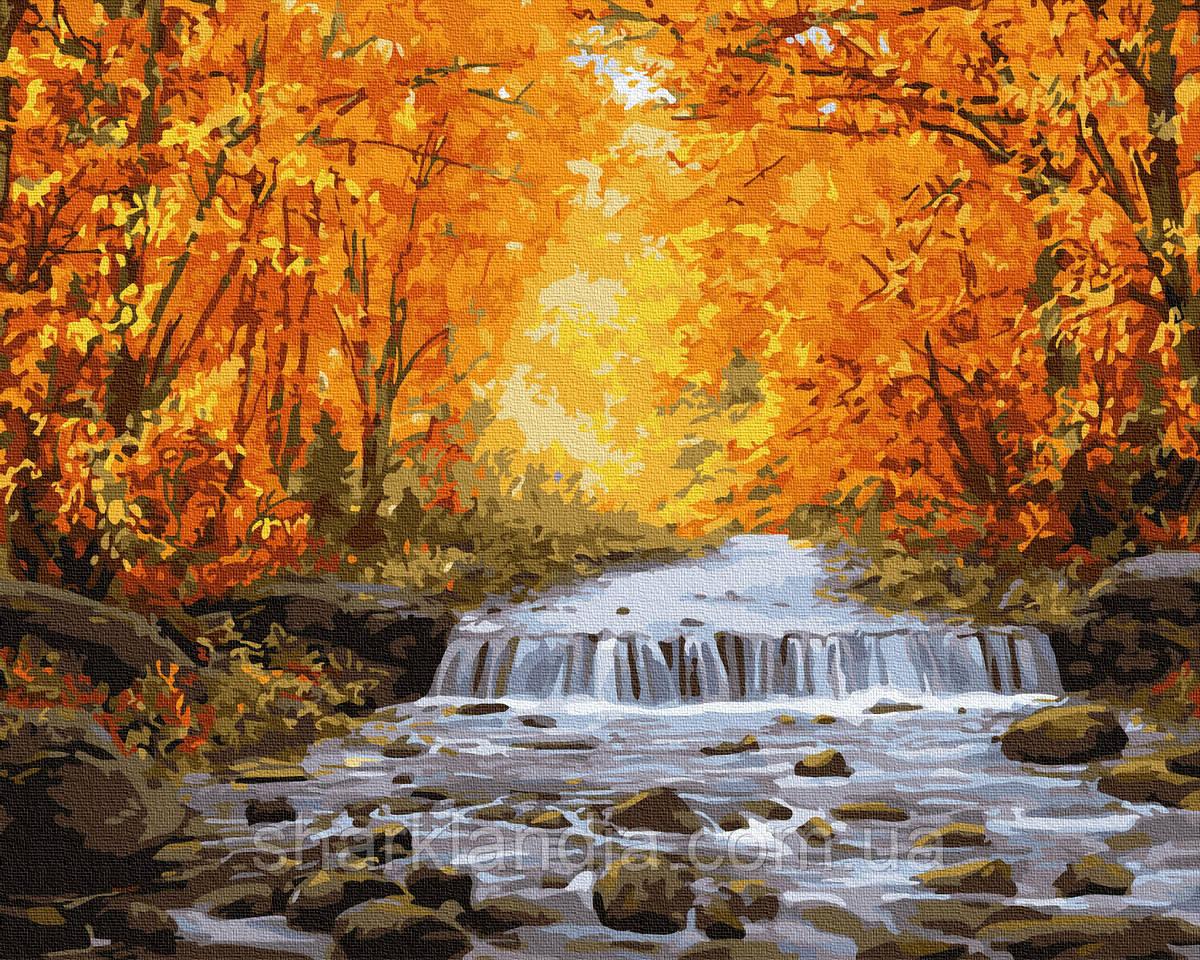 Картина за номерами Осінній водоспад 40х50см RainbowArt