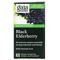 Gaia Herbs, Черная бузина, 30 веганских капсул