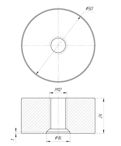 ODF-06-36-01-L25 Дистанція 25 мм для коннектора діаметром 50 мм з різьбою М12, сатин
