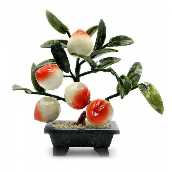 Персик Kanishka 23х24х13 см Оранжевий із зеленим і білим (21165)